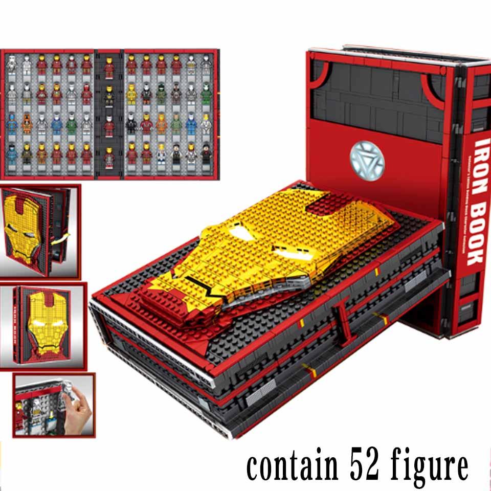 Super Heróis Homem De Ferro Armadura Marca Base de Laboratório Subterrâneo edifício Conjunto Bloco de livro caixa Display presente Marvel Avengers Legoinglys