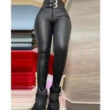 Pantalon en Faux cuir pour femme, taille haute, Slim, fermeture éclair, printemps, Slim, PU, moulant, Leggings Club, 2021