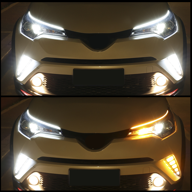 H470f78087d7a42a18f99a34020f6f1c2O OKEEN 2Pcs Slim Flexible DRL LED Knight Rider Strip Light For Headlight Sequential Flowing Amber Turn Signal Lights