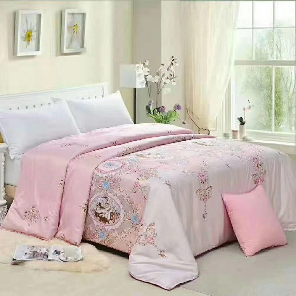 Hot Selling Silk Blanket Summer Blanket Printed Airable Cover Handmade Order Flowers Gift Quilt Summer Quilt Weight