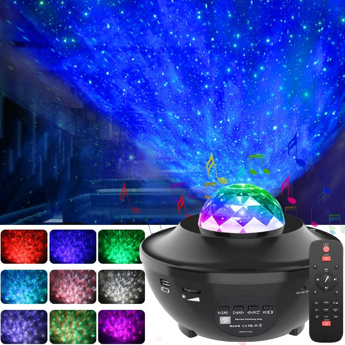 Night Light Ocean Wave Star Projector Colorful Starry Sky Projector With Bluetooth Music Speaker Ambiance Lamp For Baby Bedroom