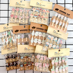 10pcs/pack Cartoon Animal Plant Photo Wall And Room Decoration Wooden Clip