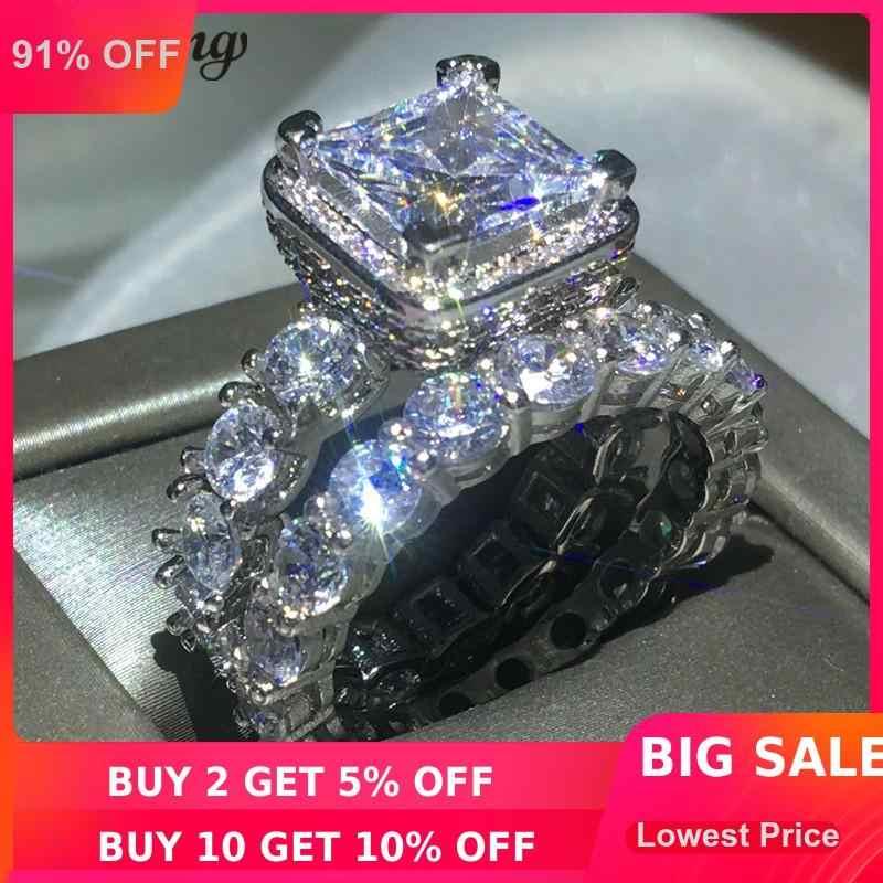 Choucong Винтажное кольцо Pave Установка 5А Циркон Cz 925 пробы серебро обручальное кольцо кольца набор для женщин Свадебные ювелирные изделия