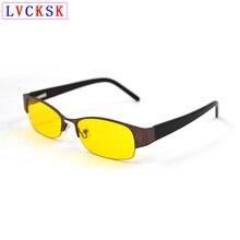 Модные прямоугольные Полуободковые очки ночного видения для женщин и мужчин, желтые линзы, очки для вождения, металлическая оправа L3