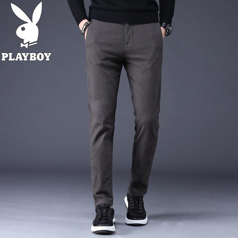Pure Cotton PLAYBOY Casual Pants Men's Slim Fit Spring And Autumn MEN'S Trousers Pure Cotton Large Size MEN'S Trousers Men's Ver