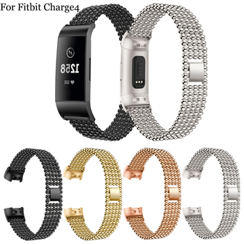 New fashion Matal Bands for Fitbit Charge 3 / 4 Metal Wristbands Stainless Steel Sport Watch Band Replacement Bracelet