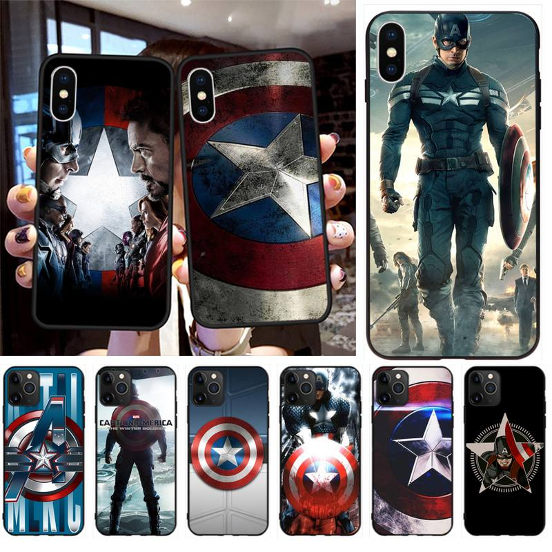 HPCHCJHM Captain America Black TPU Soft Rubber Phone Cover for iPhone 11 pro XS MAX 8 7 6 6S Plus X 5S SE 2020 XR case