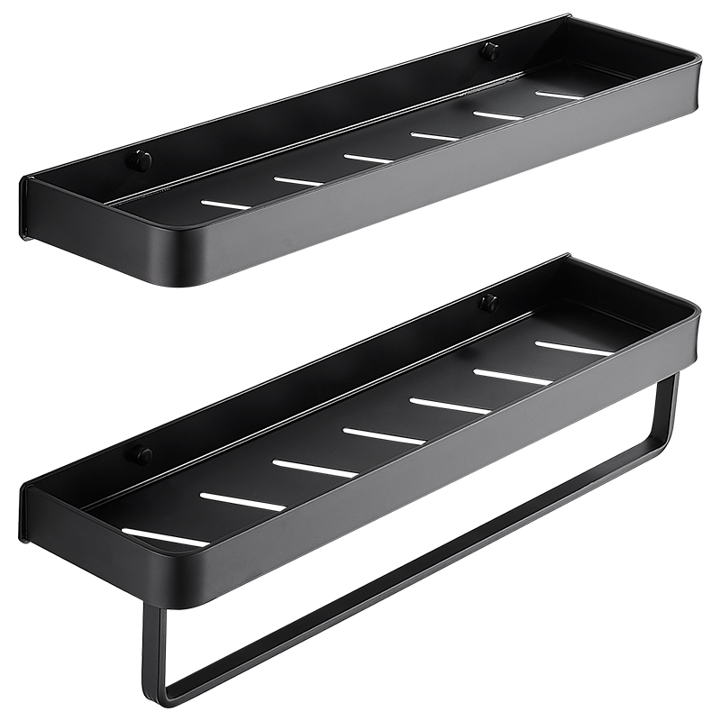 Bathroom Black Shelf With Towel Bar Space Aluminum Corner Shelves Towel Rack With Hook Shampoo Holder  Kitchen Storage Rack