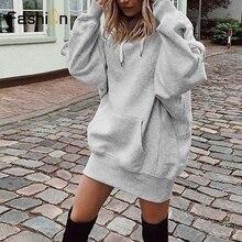 2019 Women Long Hoodies Loose Sweatshirts Dress Punk Style Hooded Autumn Winter