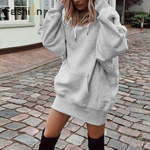 2019 Women Long Hoodies Loose Sweatshirts Dress Punk Style H