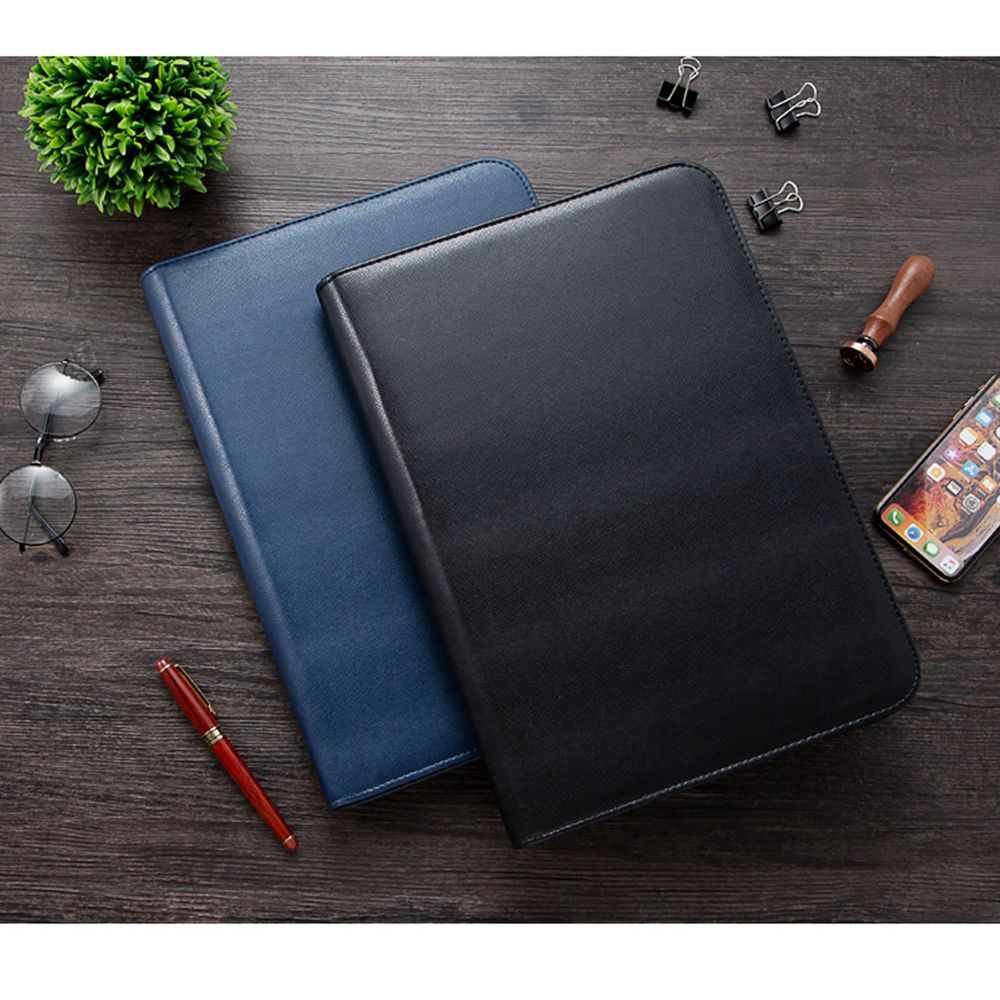 Custom A4 Document Folder Padfolio With PU Leather Office School Supply File Folder Portfolio With Calculator Filling Products