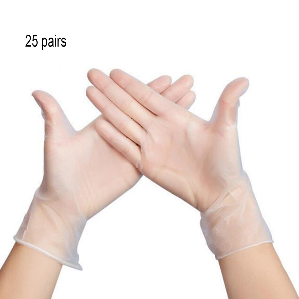 50 Pieces/Box Disposable Pvc Gloves Transparent Powder-Free Food Processing Protective Gloves