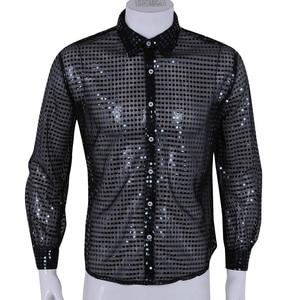 Image 4 - Hommes Men See Through Sequin Latin Shirt Long Sleeve Ballroom Tango Rumba Top Mens Shirts Tops Performance Dance Costume
