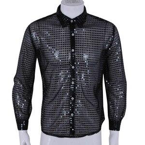 Image 4 - Hommes hombres ver a través de lentejuelas camisa latina de manga larga de salón de baile Tango Rumba Top camisas para hombres Tops Performance Dance Costume