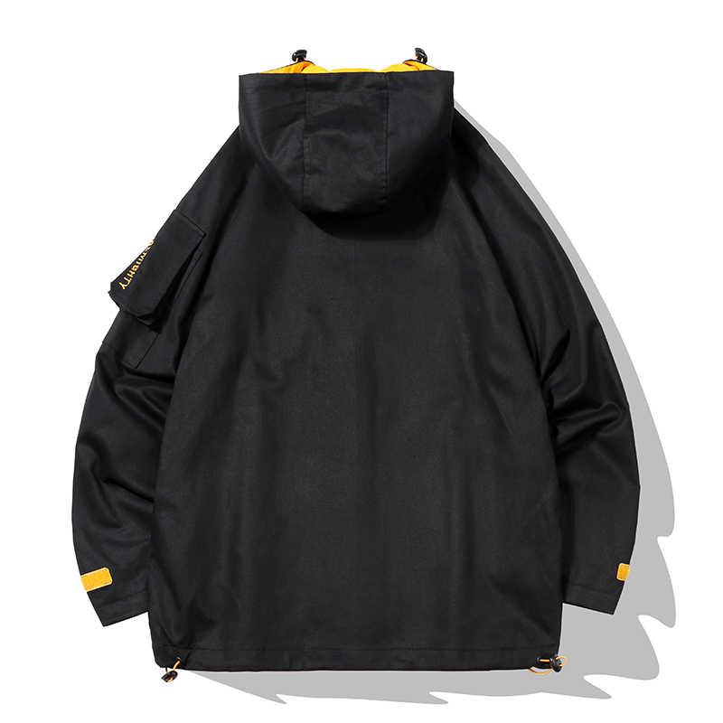 رجل جاكيتات القطن عارضة الذكور أبلى اللون كتلة خليط مقنعين سترة واقية الورك هوب الفيلكرو الكفة زمم المسار سترة معطف