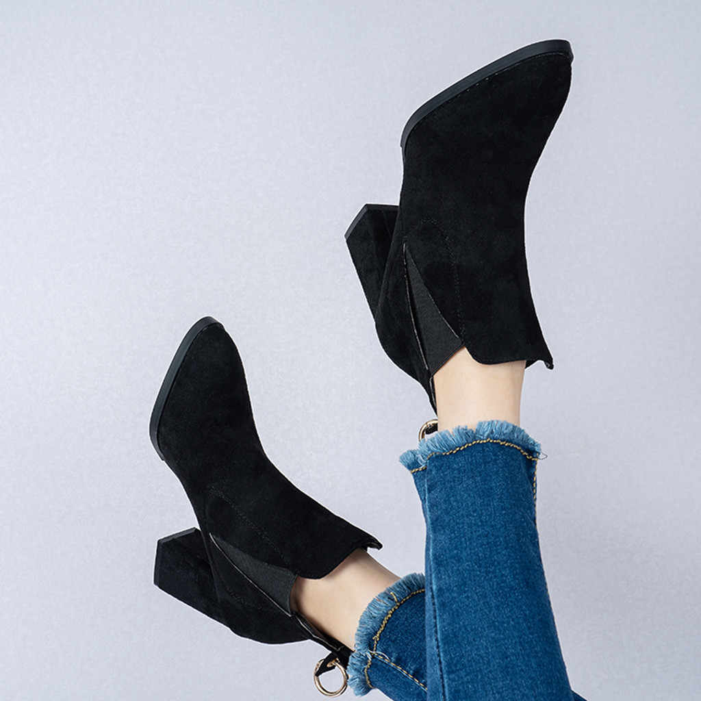 ฤดูใบไม้ร่วงฤดูหนาวรองเท้าผู้หญิงอูฐสีดำข้อเท้ารองเท้าผู้หญิงส้นหนา Slip บนรองเท้าสุภาพสตรีรองเท้า Bota Feminina 35 -40