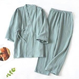 Image 3 - Men and Women 100% Cotton Pajamas Plus Size Loose Bathrobes V Neck Kimono Pijama Mujer Three Quarter Sleepwear Couple Sleepwear