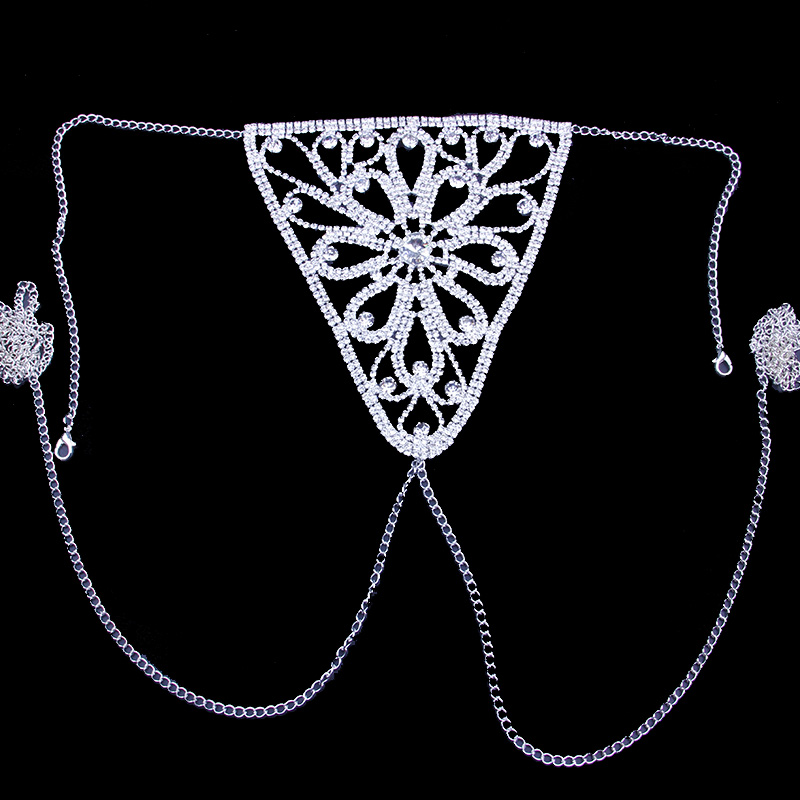 StoneFans Crystal Body Jewelry Waist Chain for Women Sexy Rhinestone Lingerie Flower Panties Thong Belly Chain Christmas Gift 5