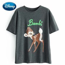 Disney Fashion Korea Bambi Letter Cartoon Deer Print T-Shirt O-Neck Pullover Short Sleeve Casual Sweet Women Tee Tops(China)