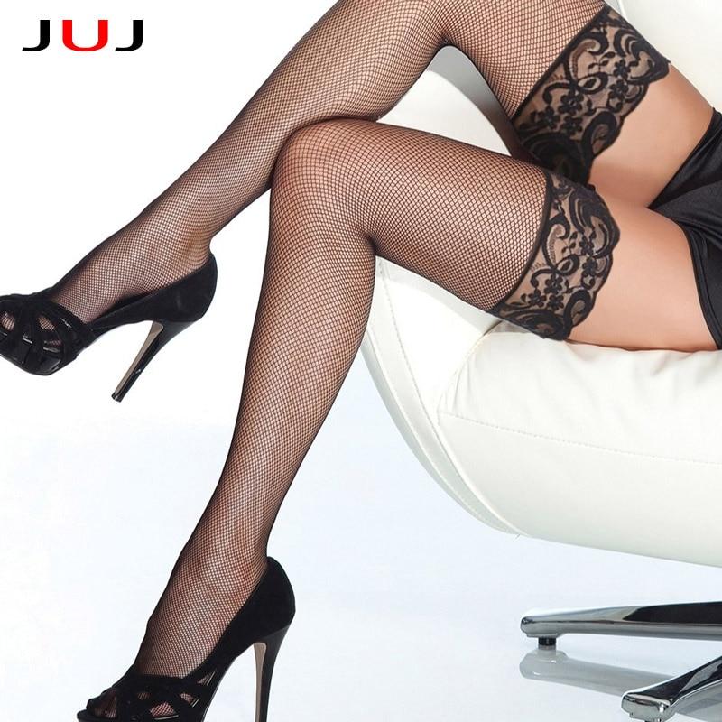 2019 Sexy Designer Lace Fish Net Thigh High Knee Socks Long Socks Women Transparent High Elastic Stockings Kawaii Socks