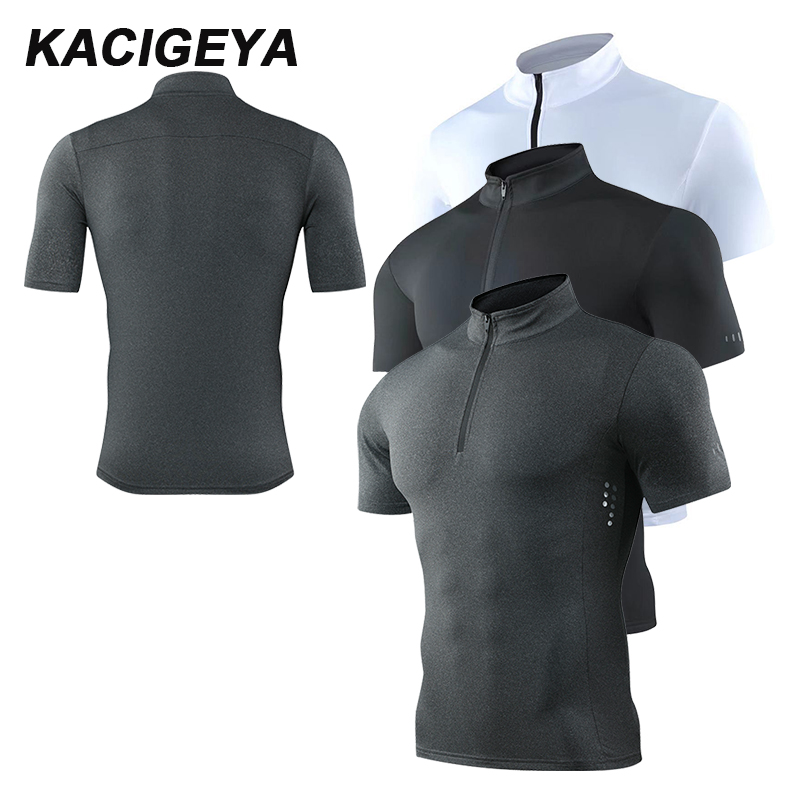 Short Sleeve Sport Fast-Dry Breathable Top Blouse Mens T Shirt Mens Stand Collar Zipper Gym Training /& Workout T-Shirt