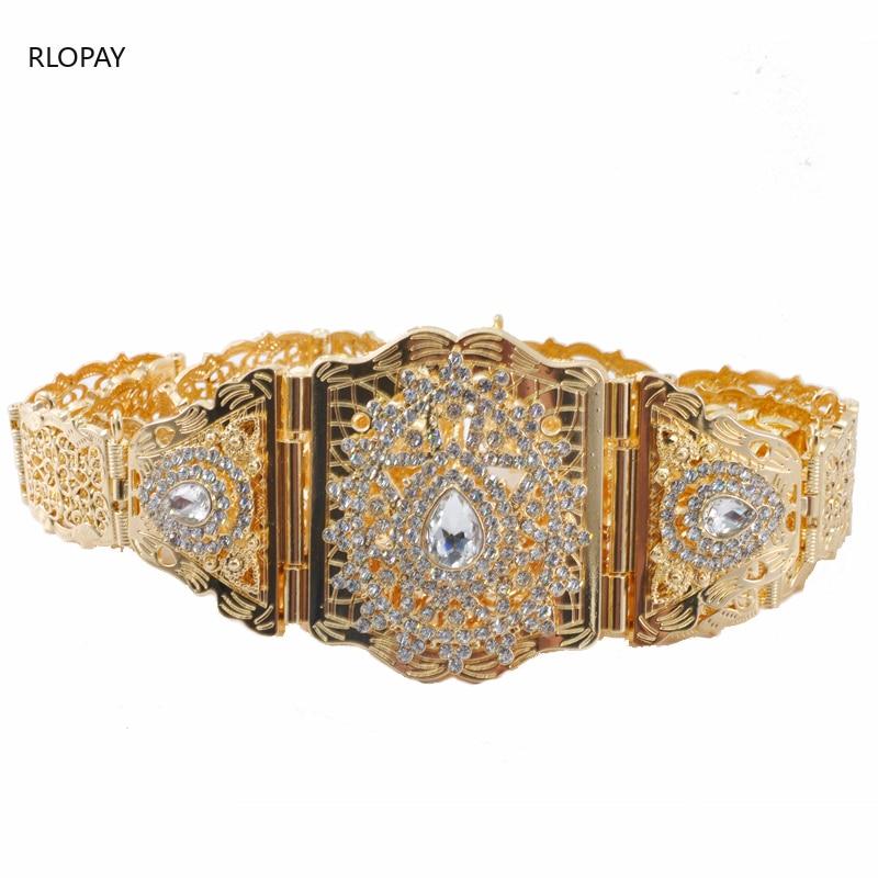 Water Drop Shape Rhinestone Women Waist Chain Gold Wedding Dress Belts Adjustable Length Kaftan Belts