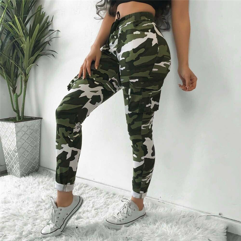 2020 Women Pants Summer Stretch Drawsting Army Camo Camouflage Skinny Cargo Pants Trousers Women Pocket High Waist Trousers