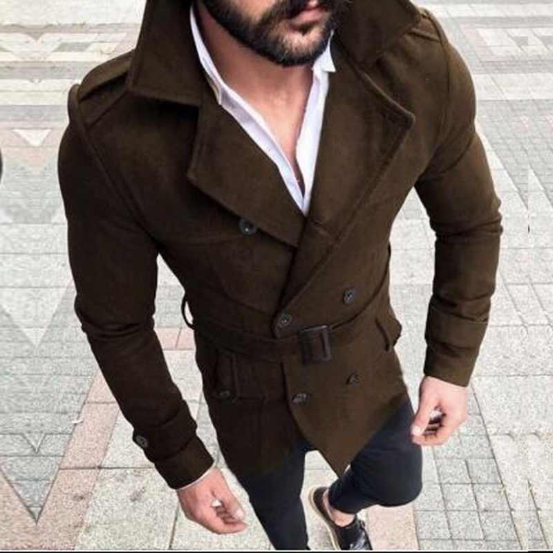 Litthing, новинка 2019, мужской классический двубортный плащ, длинное Мужское пальто, Мужская одежда, длинные куртки, пальто, пальто в британском стиле
