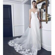 Verngo 2020 simples elegante vestido de casamento destacável trem vestidos de novia ilusão decote mangas curtas bainha vestido de noiva