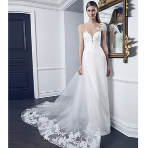 Image 1 - Verngo robe De mariée robe De mariée avec traîne détachable, Illusion, encolure, manches courtes, fourreau, 2020