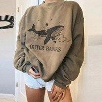 Frauen Whale Druck Retro Kleidung Hoodie Casual Sweatshirt Tops Damen Harajuku Herbst Mode Hoody Dropshipping