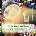7W 15W 24W COB LED Растут огни Лампа E27 Теплый белый полный спектр с отражающей линзой для комнатных растений Овощи и рассада