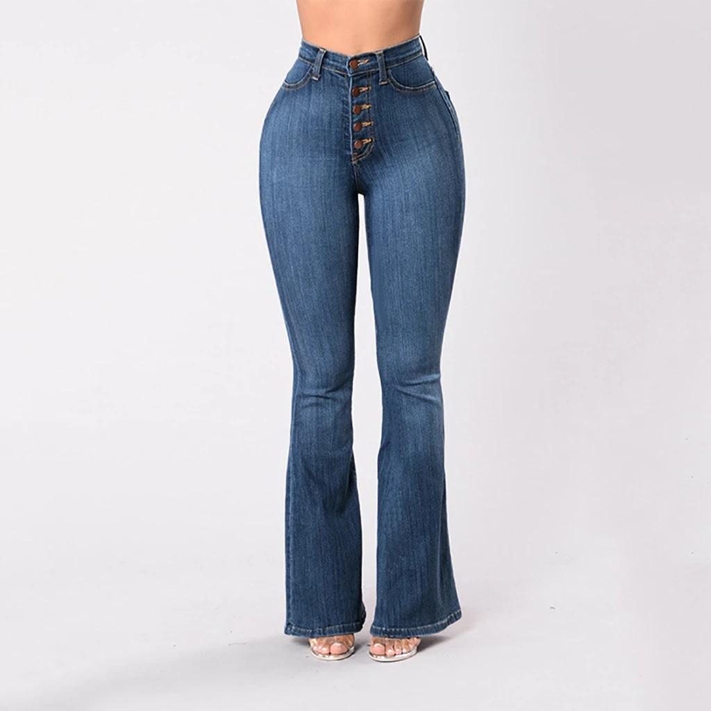 Women/'s Denim Jeans High Waist Flared Wide Leg Trousers Ladies Bell Bottom Pants