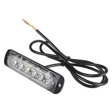 цена на 4Pcs/kit  Amber & White 6 LED Emergency Warning Flash Strobe Light  Rear Light,