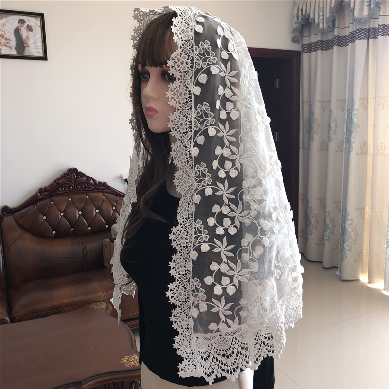 White Women's Mantilla Lace Catholic Veil For Chapel Church Head Covering Scarf Mass Vela Voile Shawl Dentelle Long Style