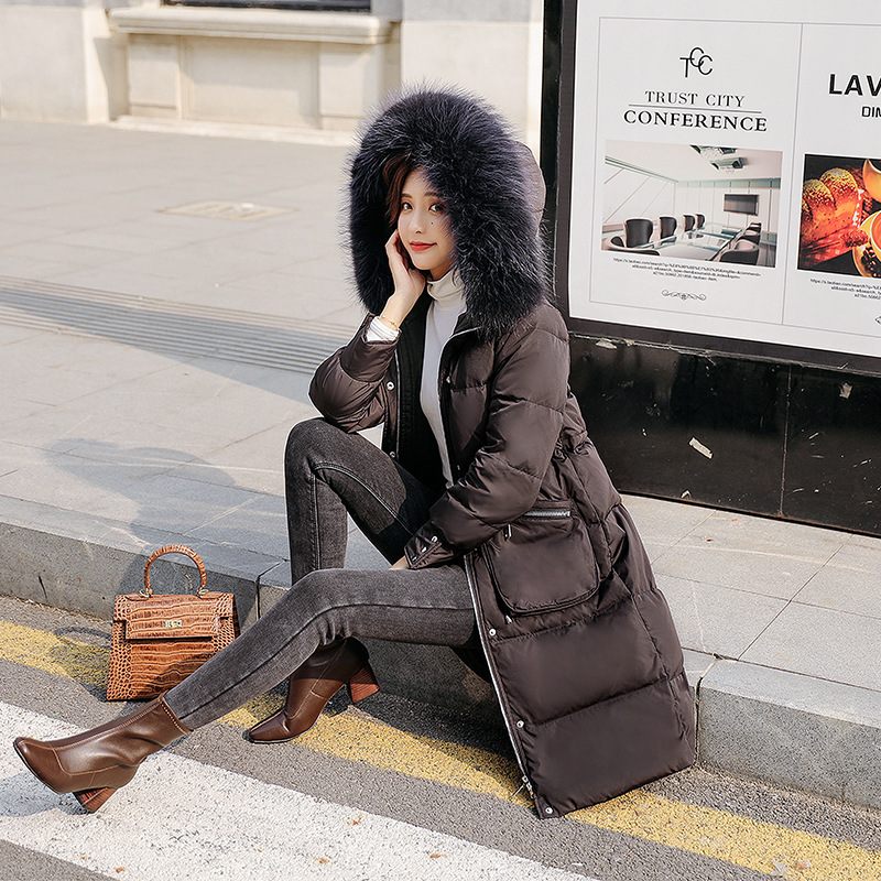 Down Winter 2020 Jacket Woman Hooded Long Coat Raccoon Fur Collar Korean Duck Down Jacket Chamarras De Mujer KJ2548