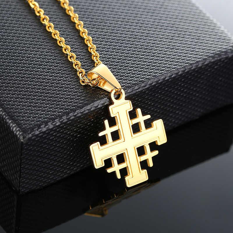 エルサレム十字軍十字架中世宗教チャームペンダントネックレス女性男性ユニセックスギフトメダリオンジュエリー