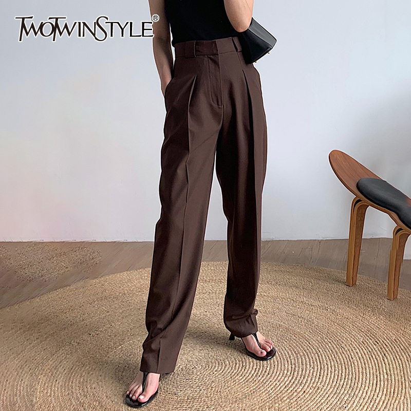 TWOTWINSTYLE Black Korean Women's Pants High Waist Pocket Elegant Straight Trousers Female Clothing Autumn Fashion New 2020