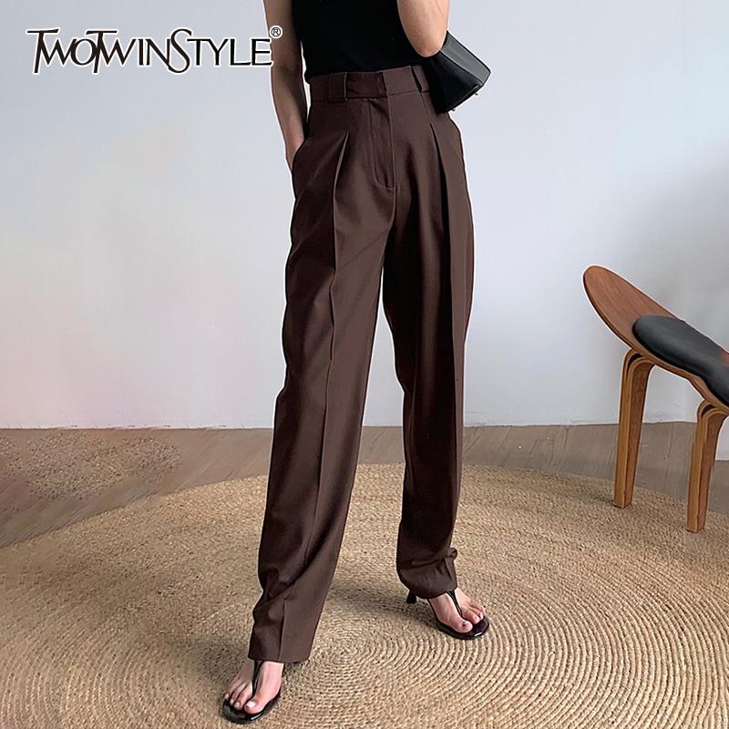 TWOTWINSTYLE siyah kore kadın pantolonları yüksek bel cep zarif düz pantolon kadın giyim sonbahar moda yeni 2020