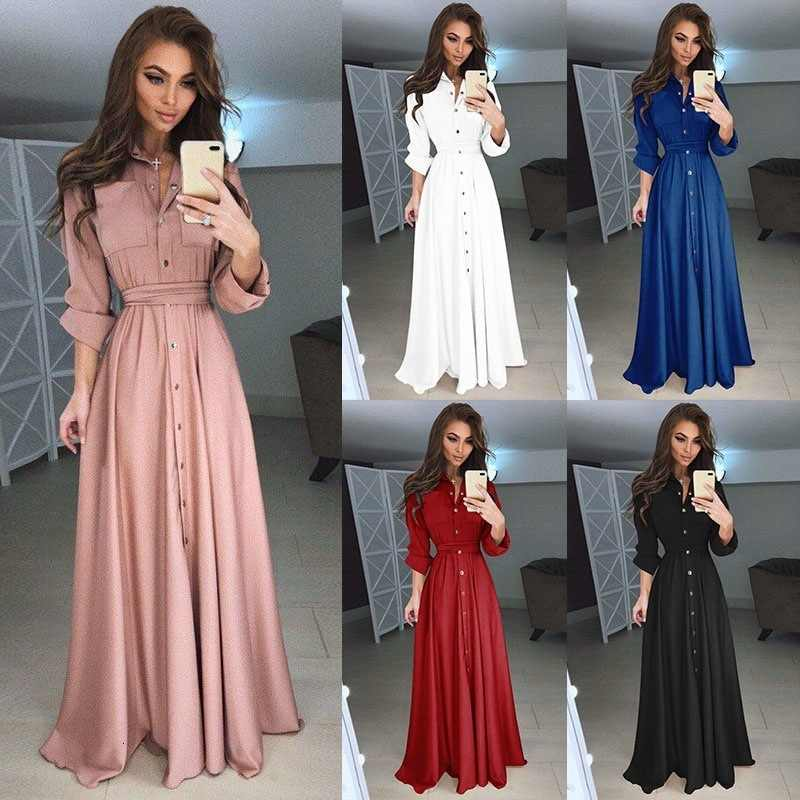 2019 New autumn Women Fashion Dress Ladies A-line Long Sleeve Long Dress Female Sexy Slim Fit Buttoned Maxi Dresses Temperament
