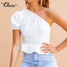 Celmia 2020 Summer Vintage Linen Cotton Casual Top Women Off Shoulder Short Sleeve Blouse Ruffles Hem Solid Shirt Blusas S-5XL