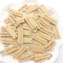50Pcs Rectangle Natural Color Wooden Button handmade Wood Button Sewing Accessories For Clothes Scrapbooking Craft DIY free shipping 100 pcs mixed 7 colors square wood beads letter a z cube sewing scrapbooking crafts handmade 1 hole wooden button