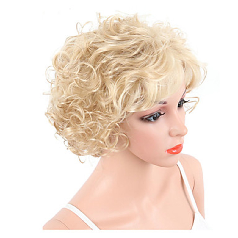 Image 3 - HAIRJOY  Synthetic Hair Women Blonde Short Curly  Wigs Free ShippingSynthetic None-Lace  Wigs   -