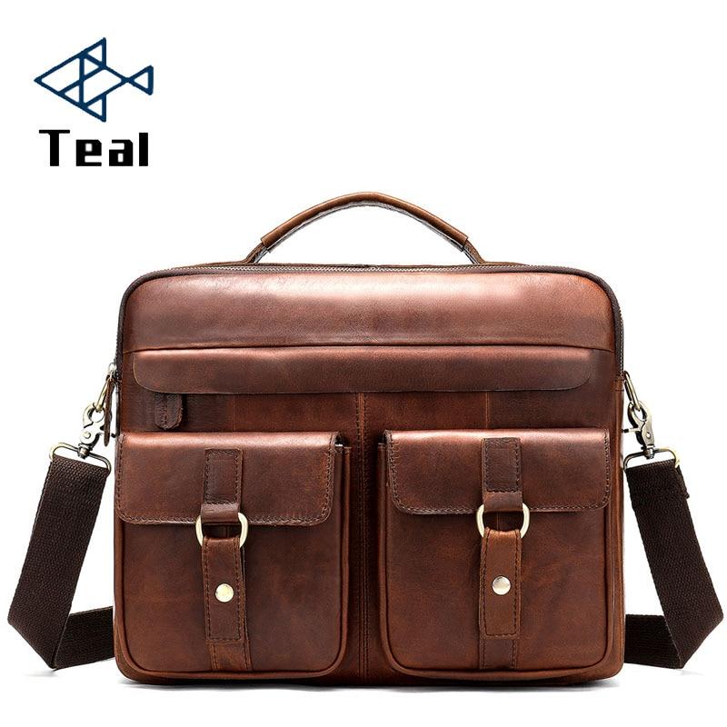 2019 Genuine Leather Briefcase Bag Multi-Pocket 14 Inch Handbag Crossbody Laptop Men Document Laptop Case Lawyer