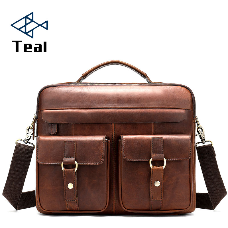 2020 Genuine Leather Briefcase Bag Multi-Pocket 14 Inch Handbag Crossbody Laptop Men Document Laptop Case Lawyer