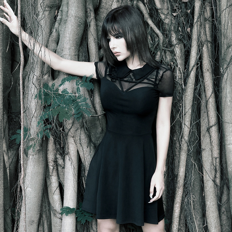 JIEZUOFANG Dresses Harajuku Pentagram Gothic Pleated Punk Black Women Lace Grunge Aesthetic