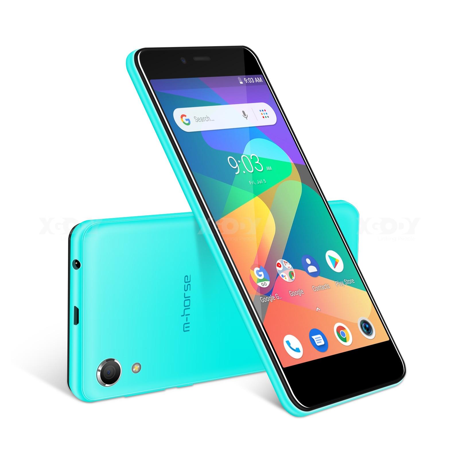 M-HORSE téléphone portable MTK6580 Quad Core Android 8.1 1GB RAM 8GB ROM 3G WCDMA 8.0MP 2000mAh double SIM Smartphone 5 pouces celulaire