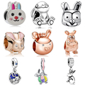 Подвески из серии Кролик, эмалированные бусины в виде кролика, ювелирные изделия, подвеска, браслет «сделай сам», браслет подходит для ориги...