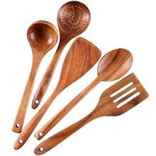 Здоровый набор посуды для приготовления пищи деревянные инструменты для приготовления пищи натуральный антипригарный твердый деревянный шпатель и ложки-прочный экологичный и безопасный