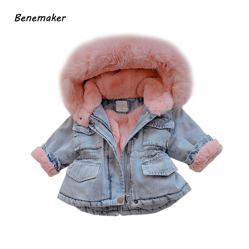 2019 hiver bébé fille Denim veste Plus velours vraie fourrure chaud enfant en bas âge manteaux pour vêtements de dessus 1-6 ans enfant infantile Parka coupe-vent YJ131
